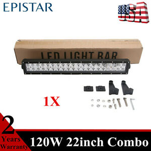 22 Inch 120w Led Work Light Bar Combo Fits Jeep Chevrolet Slim New Atv 4wd New