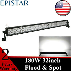32 In 180w Led Tralier Light Bar Driving Lamp Spot Flood Jeep Offroad 4x4wd 52
