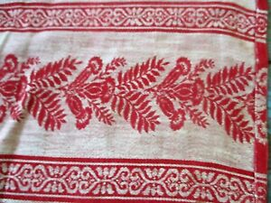 Antique Thistle Pattern Wool Childrens Coverlet Tablecloth Red White Checkered