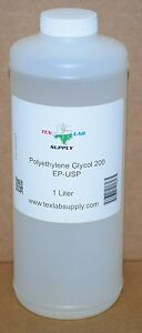 Tex Lab Supply Polyethylene Glycol 200 peg 200 Nf fcc ep usp 1 Liter Qty 2