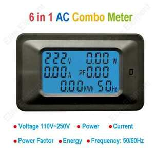 Ac Multifuction Meter Volt 250v Amp 0 100a Pf Power Consumption Kwh Frequency