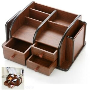 Desk Organizer Rack For Office Supplies Wood 3 Drawers Compartment Shelves New
