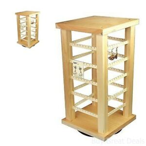 Wooden Earring Holder Display Stand Hanging Organizer Rotating Rack Hugger Tree
