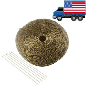2 50 Ft Titanium Basalt Exhaust Header Pipe Wrap 6 Stainless Ties