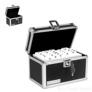 Card Box Key Lock Provides Security 4x6 Index Storage Office Filing Products