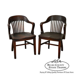 Antique Pair Of Bank Of England Style Arm Chairs By The Sikes Co Aa