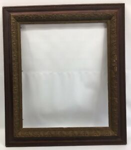 Large Antique 19th C Oak Gold Gilt Gesso Picture Frame For Litho Or Painting