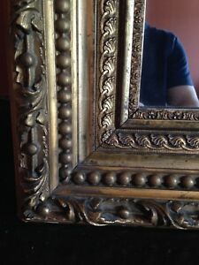 Gilt Carved Wood Victorian Over Mantle Buffet Mirror 59 In By 53 In