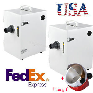 2x Usa Dental Lab Digital Single row Dust Collector Vacuum Cleaner suction Base