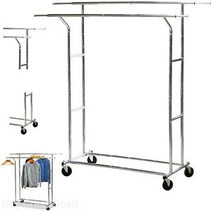 Simplehouseware Garment Racks Heavy Duty Double Rail Clothing Garment Rack
