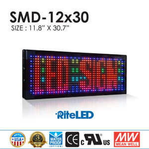 Full Color Moving Led Sign 12 X 31 Outdoor Ul Power Store Front Window Nes Light