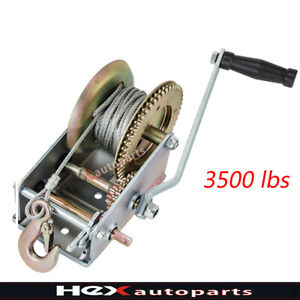 2500b Black Strap Hand Winch Manual Trailer Crank Winch With Hook Boat Pull Tow