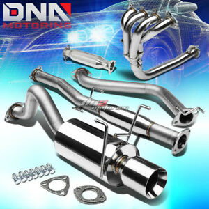 4 Rolled Tip Racing Catback 4 1 Header pipe Exhaust System For Del Sol Eg Eh6