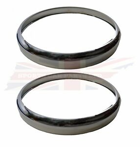 New Light Headlight Headlamp Rim Trim Ring Mgb 1963 79 Pair Chrome Over Brass