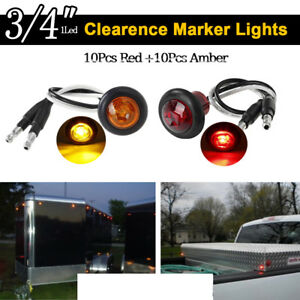 12v 3 4 Round Led Clearence Light Marker Indicators Taillight Stop Trailer Jeep