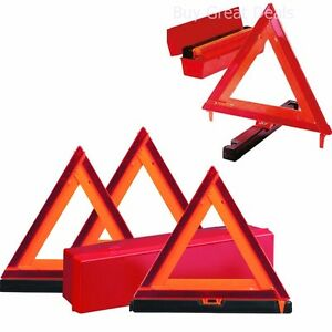 Reflective Triangle Sign Safety Roadside Emergency Kit Early Warning Signals New