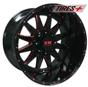 4 Four 20 Xtreme Mudder 20x10 44 Gloss Black Red Off Road Rims Gmc Chevy