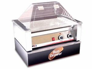Brand New Benchmarkusa 10 Hot Dog Roller Grill With Sneeze Guard And Bun Drawer