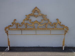 Headboard Hollywood Regency Bed Gold Brass French Provincial Glam Baroque Rococo
