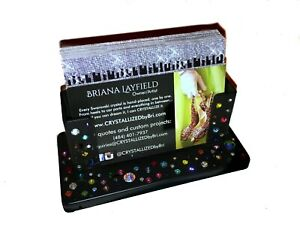 Made To Order Bling Business Card Holder Desk Made With Swarovski Crystals