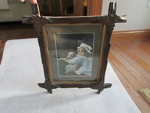 Vintage Folk Art Picture Frame Wood With Leaf Corners Holds 8x10 Pictures