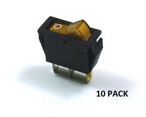 10 Pack Ces on off Illuminated Rocker Switch Amber 66 2200 10pk