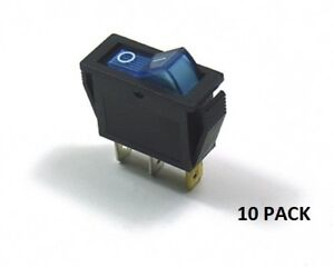 10 Pack Ces on off Illuminated Rocker Switch Blue 66 2201 10pk