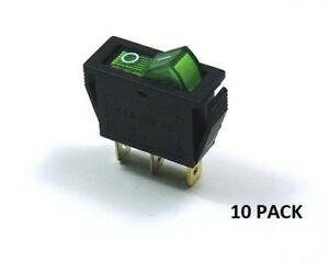 10 Pack Ces on off Illuminated Rocker Switch Green 66 2202 10pk