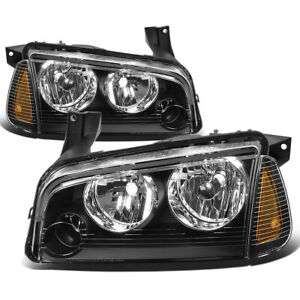 Fit 2006 2010 Dodge Charger Pair Black Houisng Headlight amber Turn Signal Lamp