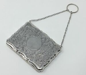Victorian English Sterling Purse Card Money Case W Chain And Ring Wb Ltd 1909