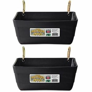 2 Pack Feeding Supplies Little Giant Fence Feeders With Clips 11 inch Black No