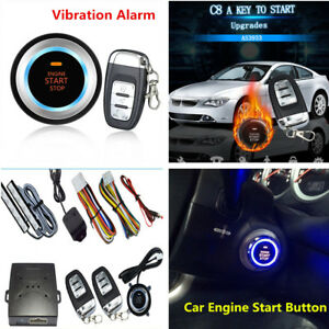 Car Vibration Alarm Systems Security Ignition Engine Start Push Button Remote C8