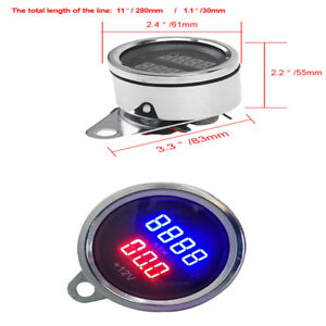 High Quality 12v Motorcycle Led Digital Tachometer Voltmeter Gauge Waterproof