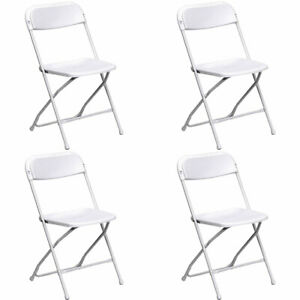 4 pack White Plastic Folding Chair Tentandtable Commercial Wedding Party Chairs