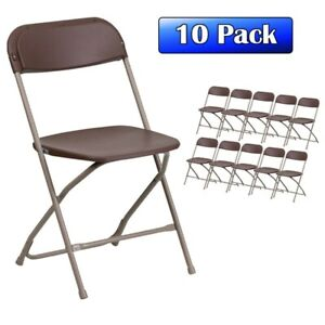 10 pack Brown Plastic Folding Chair 300 Lb Capacity Wedding Event Party Chairs