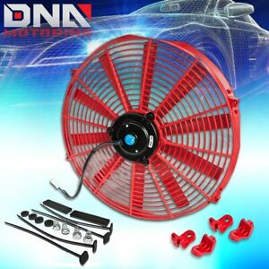 16 12v Red Universal Slim Electric Radiator Cooling Fan Assembly Kit