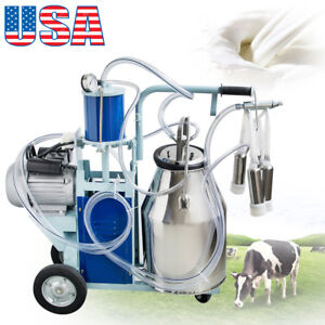 Electric Milking Machine Milker Piston Pump Cattle Dairy Equipment 110v 1440rmp