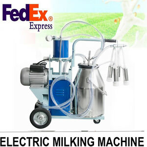 Auto Electric Milking Machine For Farm Cow Cattle Bucket Vacuum Piston Pump Aaa
