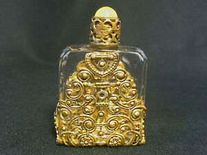 Vintage Art Deco Czech Ornate Ormolu Filigree Purse Perfume Bottle Dauber