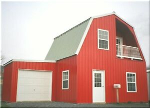 Insulated Galvanized Steel Gambrel Building Kit Cabin can Add Garage Later
