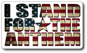 I Stand For National Anthem V4 Car Window Decal Bumper Sticker Football Us Flag