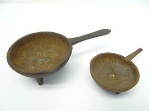 2 Reproduction Used Cast Iron Rusty Original Old Bullet Mold Ladle Pan Shape