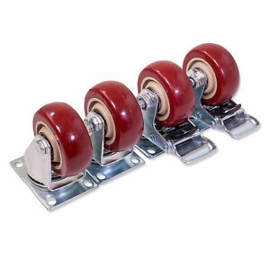 3 Inch Top Plate Swivel Casters 2 With Brake 2 Without Set Of 4 Red Polyurethane