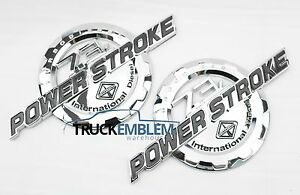 2 New Chrome Ford Custom 7 3l F250 F350 Powerstroke International Badges Emblems