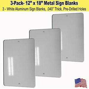 12 X 18 Metal Sign Blank White Aluminum 040 3
