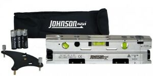 Johnson 3 beam Magnetic Torpedo Laser Level W Leveling Base Carry Pouch