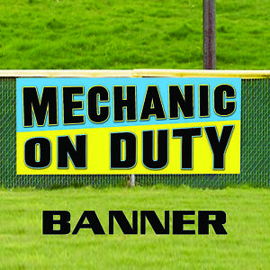 Mechanic On Duty Advertising Vinyl Banner Sign Auto Repair Tool Engine Service