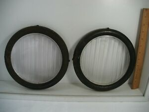 Vintage Pair Of 1915 1920 S Ford H Headlight Lens Approx 9 Diameter 90t