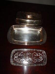 Vintage Silver Plated 3 Piece Butter Dish With Glass Liner