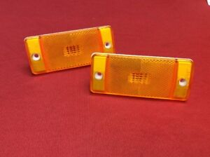 New 1970 1977 Early Ford Bronco Side Marker Light Lens Set Front Amber